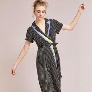 EUC Anthropologie Maeve dot/striped maxi dress sz2